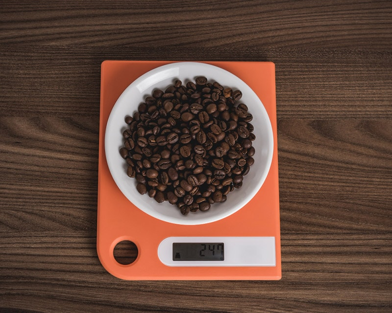 coffee beans on scale